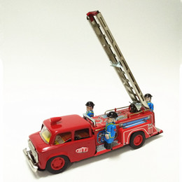 Old Tin Toys Australia - Classic collection Retro Clockwork toy Fire brigade Fire truck toy Metal Tin Inertia car Vintage Mechanica Wind up toy baby best gift