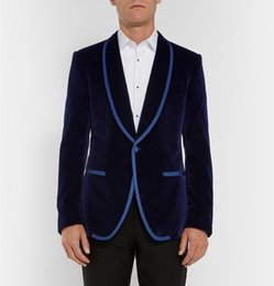 Cheap Blue Tuxedos UK - Navy Blue Velveteen Wedding Tuxedos Slim Fit Suits For Men Groomsmen Suit Two Pieces Cheap Prom Formal Suits (Jacket+Pants+Tie) 155