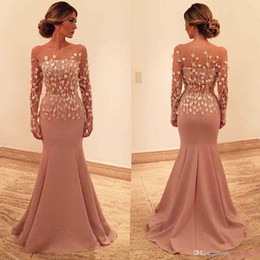 pretty white prom dresses Australia - Pretty 2020 Mermaid Evening Dresses Bateau 3D Appliques Long Sleeves Prom Dress Floor Length Tulle Formal Evening Gowns