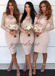 Lavender Blush Wedding Dress Australia - Blush Pink Bridesmaid Dresses 2019 Long Sleeve Knee Lenght Lace Applique Mermaid Wedding Guest Gowns Custom Made Pius Size