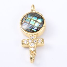 $enCountryForm.capitalKeyWord Australia - Singreal Abalone Shell Micro Pave Crosses Charms Bracelet necklace Choker Pendant connectors for women DIY Jewelry making