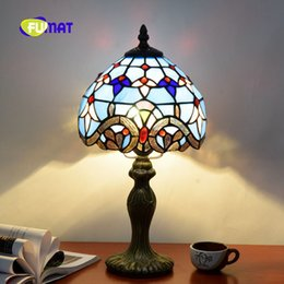 $enCountryForm.capitalKeyWord Australia - FUMAT Baroque Table Lamp Tiffany Stained Glass Shade Bedroom Bedside Lamps LED Desk Reading Lights 12Inch Living Room Desk Light