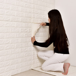 chinese 3d wall stickers Australia - 77*70cm 3D Brick Wall Stickers PE Foam Self-adhesive Wallpaper Peel and Stick 3D Art Wall Panels for Living Room Bedroom Background
