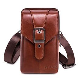 $enCountryForm.capitalKeyWord NZ - New Cowhide Leather Waist Bag Men Travel Crossbody Mobile Phone Shoulder Bag Pouch Case Belt Purse Wallet for Men Waist
