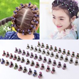 $enCountryForm.capitalKeyWord Australia - 12pcs Girls Small Crystal Flowers Metal Hair Claws Children Mini Rhinestone Hair Clamp Kids Hair Oranment Clips Baby Hairpins