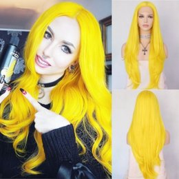 $enCountryForm.capitalKeyWord Australia - New Style Fashion 26inch Yellow Long Natural Wave Hair High Temperature Synthetic Lace Front Wig Middle Part Glueless Cosplay Wigs For Women