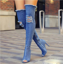 super long boots NZ - New Style Fashion Foreign Trade Super High-Heeled Denim Hole Women's Shoes Rome Catwalk Long Knee Fashion Women's Boots Side Zipper Boots