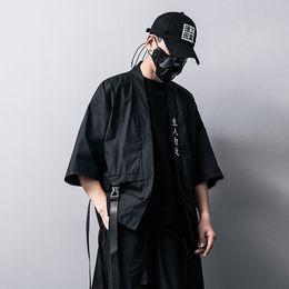 Bordado Caráter Chinês estilo Chinês Dos Homens jaquetas E Casacos de Verão Fino Japonês Harajuku kimono Masculino Hip-Hop Fita Casaco venda por atacado