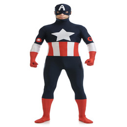 Wholesale captain america woman costume for sale – custom COS Movie Figure Performance Costume Zentai America Captain Lycra Tights