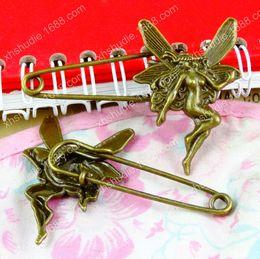 fbe82c754 Vintage Safety Pin Brooch Australia - 30pcs 60*42MM Vintage antique bronze  angel fairy safety