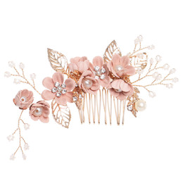 $enCountryForm.capitalKeyWord Australia - 1pc Luxury Blue Pink Flower Combs Headdr Prom Bridal Wedding Crown Hair Accories Gold Leaves Hair Jewelry Pins