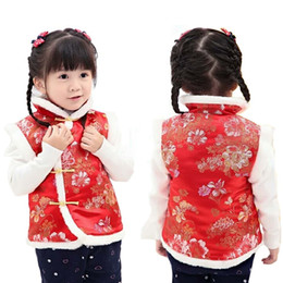 chinese baby outfits 2019 - Red Floral Baby Girl Waistcoat Peony Children Vest Tank Tops Chinese Traditional Qipao Outfit Sleeveless Girls Coat Jack