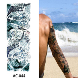 Back tattoos for men online shopping - 48 cm Large Arm sleeve Tattoo Waterproof temporary tattoo Sticker Skull Angel rose lotus Men Tatoo Bikini stickers for beach in summer