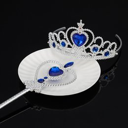 Girls frozen accessories online shopping - Frozen Princess Crown Twinkle Hair Accessories and Magic Wand for Baby Girls Cosplay Party Accessories Children s Day Gift