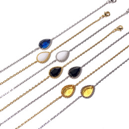 Crystal Treasures Australia - Hot Selling Fashion Accessories Spot Copper-plated Golden Treasure Delicate Four-color Water Droplet Crystal Bracelet