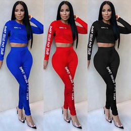 $enCountryForm.capitalKeyWord Australia - TWO PIECE SET Crop Top Long Sleeve Tracksuit Women Letter Print Workout Track Suit Sportswear Sportsuit High Waist Pants Fitness