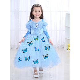 Blue Christmas Gifts Australia - 2019 New Blue Winter Cosplay Dress Christmas gift Girls dress Long sleeve Butterfly Party birthday gift Cosplay Stage Performance Dresses