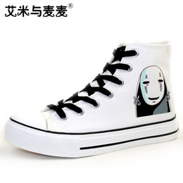 Painting Faces Australia - Unisex Japan Anime Spirited Away Custom Hand Painted Shoes No Face Man Canvas Sneakers for Gifts A51703 #142505