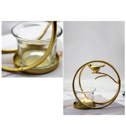 crystal cages NZ - Golden Bird Cage Candlestick Metal Candle Stand Round Home Decoration Candlesticks Wrought Iron(Gold, Big) Candle Holders