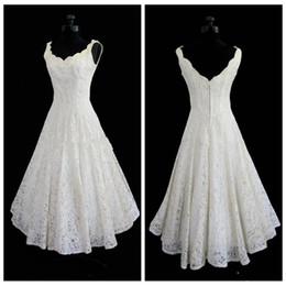 $enCountryForm.capitalKeyWord Australia - Sexy Lace Tea Length Beach Wedding Dresses Custom Vintage Summer Wedding Wear Plus Size Bridal Gowns Custom Made