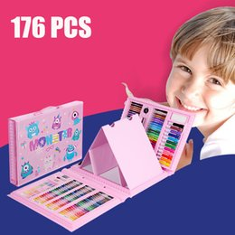 Discount kids stationery gift sets 176 PCS Watercolor Drawing Art Marker Brush Pen Set Children Painting Art Set Tools Kids For Gift Box Office Stationery