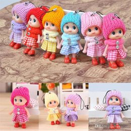 $enCountryForm.capitalKeyWord Australia - 8CM Lovely Kids Girls Toys Soft Interactive Squishy Baby Dolls Plaid Dress Squishy Toy Key Chain Mini Doll Keychain Key Ring Key Holder
