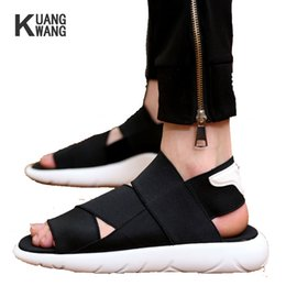 $enCountryForm.capitalKeyWord Australia - New Style Top Quality Men Sandals Fashion Casual Shoes Cross ElasticBand Slippers Open-toed Black White Free Shipping