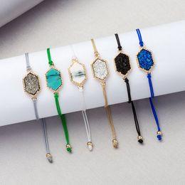 $enCountryForm.capitalKeyWord Australia - Mixed 7 Color Geometric Resin Druse Bracelet Popular Gold Bezel Druzy Bracelets With Adjustable Colorful Rope Party Jewelry