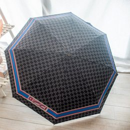 umbrella packing UK - Women Classic Letters Folding Umbrella Sunshade Gift Box Packing Automatic Folding Sunshade Outdoor Compact Size Umbrella