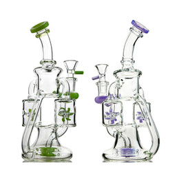 double perc oil rig Australia - 14mm Female Propeller Percolater Water Pipes Glass Bongs Double Recycler Dab Rig Dab Rigs Showerhead Perc Oil Rigs 4mm Thickness Water Bong