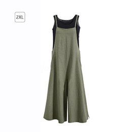 $enCountryForm.capitalKeyWord Australia - 2019 New Summer Women Casual Solid Wide Belt Leg Pants Pockets Romper Bib Overalls Jumpsuit Loose Cotton Linen Overalls Y19062201