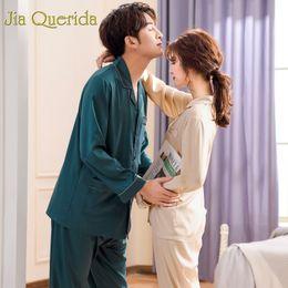 $enCountryForm.capitalKeyWord Australia - Satin Silk Pajamas Men and Women 2019 Fashion Couple Pajamas Solid Long Sleeve Sleep Wear High Quality Brandy Couple Set