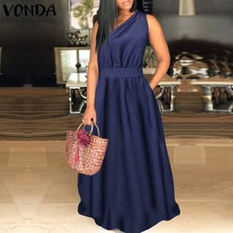 Wholesale women demin dresses resale online - Women Demin Dress Sexy One Shoulder Maxi Long Dress VONDA Summer Holiday Sundress Casual Loose Vestidos Plus Size