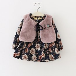 Discount newborn baby girl wedding dress - Hot Bow knot printing Floral baby girls Faux Fur Vest Princess Dress Newborn wedding christening party Warm dress