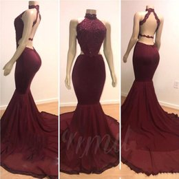 $enCountryForm.capitalKeyWord Australia - 2019 Cheap Halter Mermaid Long Prom Party Dresses Burgundy Lace Applique Beaded Backless Sweep Train Evening Gowns Plus Size