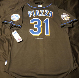 $enCountryForm.capitalKeyWord Australia - Cheap Majestic NEW YORK #31 MIKE PIAZZA COOL BASE Jersey Black Mens Stitched Wholesale Big And Tall SIZE XS-6XL baseball jerseys