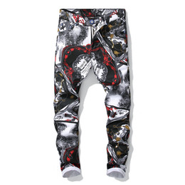Chinese  New printed casual pants men's self-cultivation digital printing jeans Europe station Europe and the United States fashion nightclubs manufacturers