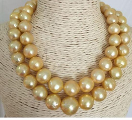 Pearl Double Strand UK - double strands 11-14mm south sea natural gold baroque pearl necklace 38inch 925silver
