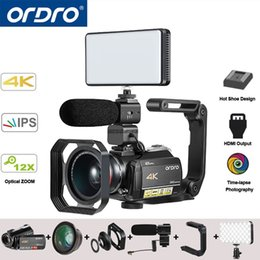 Discount video stabilizers - Ordro AC5 4K UHD Digital Video Cameras Camcorders FHD 24MP WiFi IPS Touch screen 100X Digtal Zoom 12X Optical DV Mini Ca