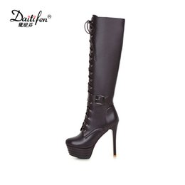 Discount riding boots fashion knee high - Daitifen winter warm Cross-tied knee-high Boots Women Shoes Sexy Zipper Thin High Heel Fashion boots belt buckle Riding