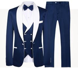 Mens white linen suit wedding online shopping - 2019 Blue Men Wedding Suits Brand Fashion Design Real Groomsmen White Shawl Lapel Groom Tuxedos Mens Tuxedo Wedding Prom Suits Pieces