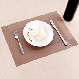 green table placemats Australia - European Style Diagonal Frame Shaped Insulation Environmental Dining Table Mat PVC Green Four-corner Placemats Disc Bowl Pads