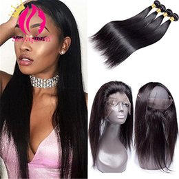 Wholesale Peruvian Straight Hair Bundles with Frontal Silk Lace Closure Free Part Bleached Knots Bundles Virgin Hair Weaves Mink Human Hair