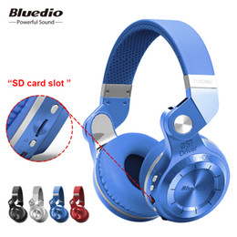sd card wireless music headphones UK - Bluedio T2+ fashionable foldable over the ear bluetooth headphones BT 4.1 support FM radio& SD card functions Music&phone calls