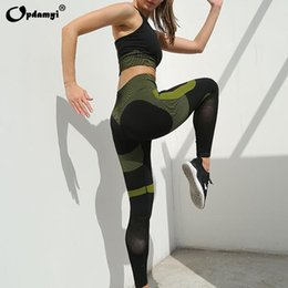yoga bra pants Canada - Women's Seamless Yoga Suit Sportswear Fitness Sport For Women Net Bra Gym Running Set Costume Yoga Sports High waist Leggings