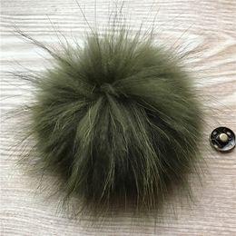 Green Pompom Hats Australia - 10pcs -13cm Army Green Real Raccoon Fur Pompom Ball W Button On Hat Bag Charm Key Chain Keyring DIY Accessories