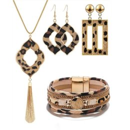 longest earrings NZ - Leopard Jewelry Set Leather Bracelet Teardrop Drop Dangle Earrings Long Tassel Pendant Necklace Jewelry Set