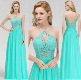 $enCountryForm.capitalKeyWord Australia - 2019 Turquoise Cheap Lace Bridesmaid Dresses Halter Neck Backless Sweep Train Wedding Guest Dresses Maid of the Honor Dresses BM0054