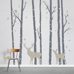 Large Wall Decor Australia - Large Size Birch Trees Forest with Deers Wall Sticker Art Home Wall Decor Mural Stickers Removable Vinyl Tree Decorative LC235
