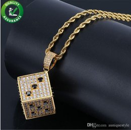 $enCountryForm.capitalKeyWord Australia - Iced Out Chains Luxury Designer Necklace Hip Hop Jewelry Mens Gold Chain Pendants Micro Paved CZ Diamond Bling Gold Dice Brand Rapper Charms
